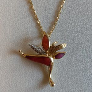 Na Hoku Jewelry - Bird of Paradise Necklace with Spiny Oyster Inlay